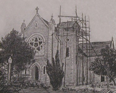 St Mary's Church Ferbane during Construction in 1896