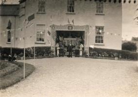 Parochial House Ferbane 1932. Alter erected outside of Parochial House during Eucharistic Congress.