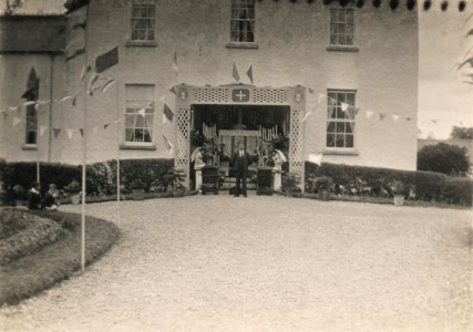 Parochial House Ferbane 1932. Alter erected outside of Parochial House during Eucharistic Congress.